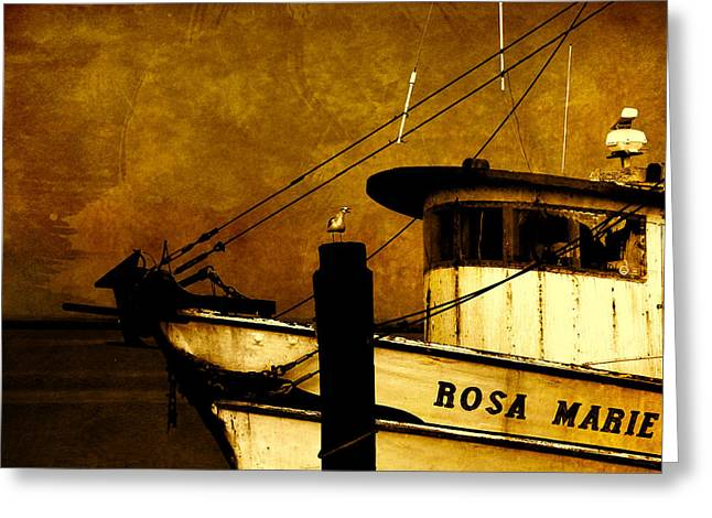 Apalachicola Shrimper Greeting Cards - Rosa Marie Greeting Card by Susanne Van Hulst