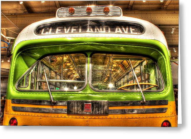 Jordan Hill Greeting Cards - Rosa Parks Bus Dearborn MI Greeting Card by Nicholas  Grunas