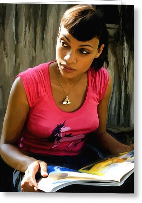 Death Proof Greeting Cards - Rosario Dawson @ Death Proof Greeting Card by Gabriel T Toro