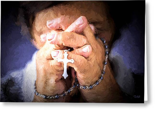 Rosary Digital Art Greeting Cards - Rosary prayer Greeting Card by Andrew Sokol