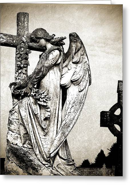 Gothic Cross Greeting Cards - Roscommon Angel No 1 Greeting Card by Teresa Mucha