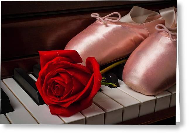 Rose And Ballet Shoes Greeting Card by Garry Gay