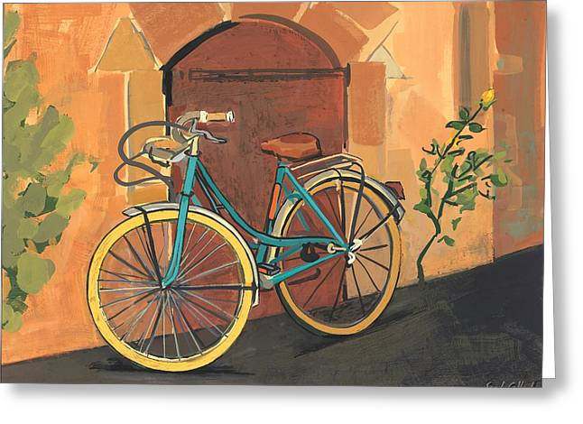 Spokes Greeting Cards - Rose and Bicycle Greeting Card by Sarah Gillard