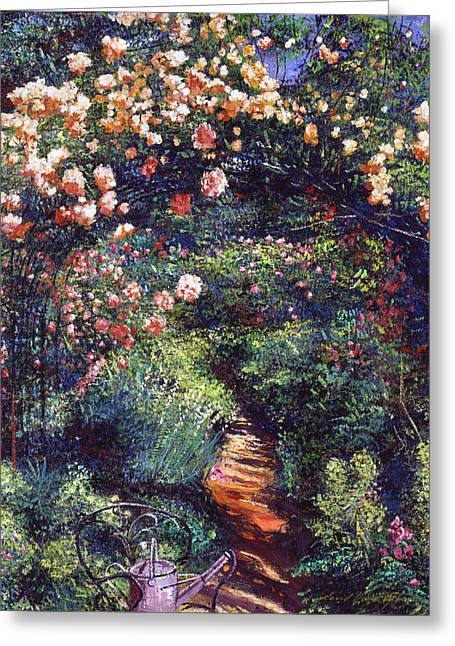 Watering Can Greeting Cards - Rose Arbor Pathway Greeting Card by David Lloyd Glover
