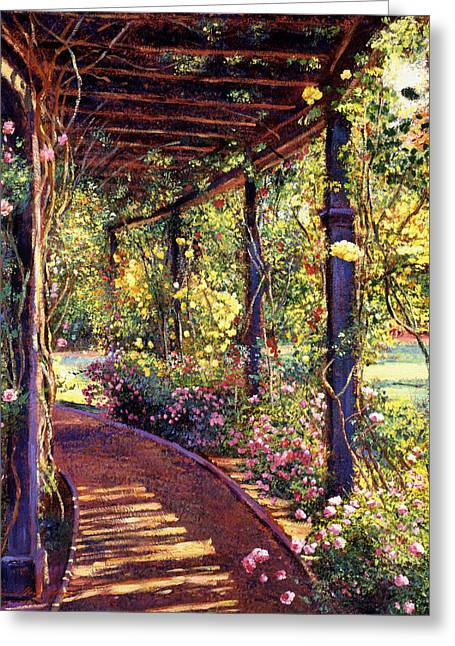 Rose Garden Greeting Cards - Rose Arbor Toluca Lake Greeting Card by David Lloyd Glover
