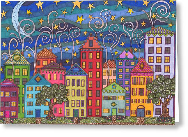 Moonlit Night Drawings Greeting Cards - Rose Avenue Greeting Card by Pamela Schiermeyer