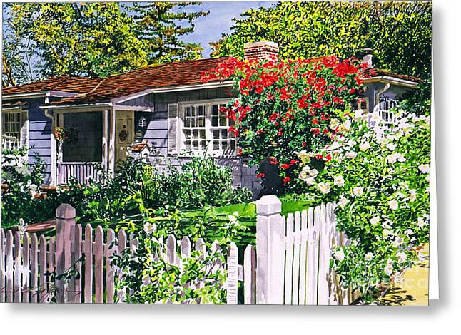 Rose Cottage  Greeting Card by David Lloyd Glover