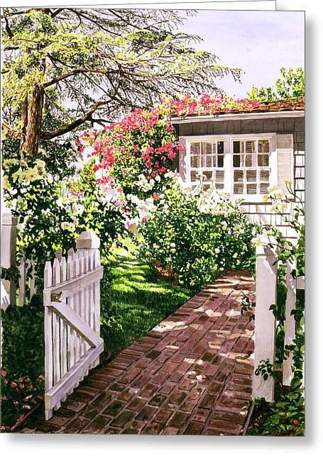 Rose Garden Greeting Cards - Rose Cottage Gate Greeting Card by David Lloyd Glover