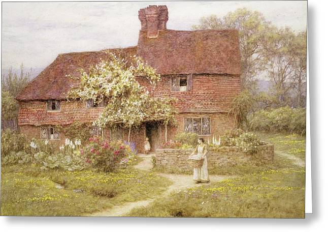 Roses Greeting Cards - Rose Cottage Greeting Card by Helen Allingham