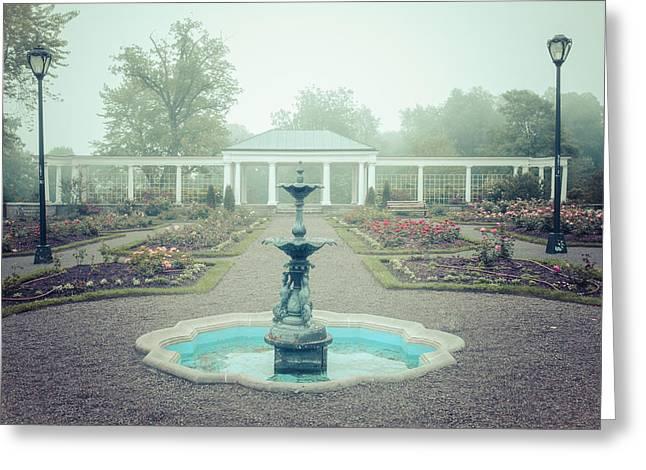 Foggy Greeting Cards - Rose Garden Dream Greeting Card by Chris Bordeleau