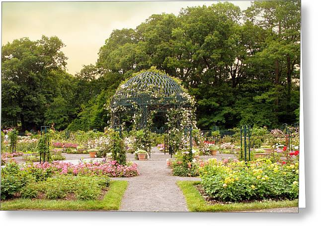 Trellis Greeting Cards - Rose Garden Gazebo Greeting Card by Jessica Jenney