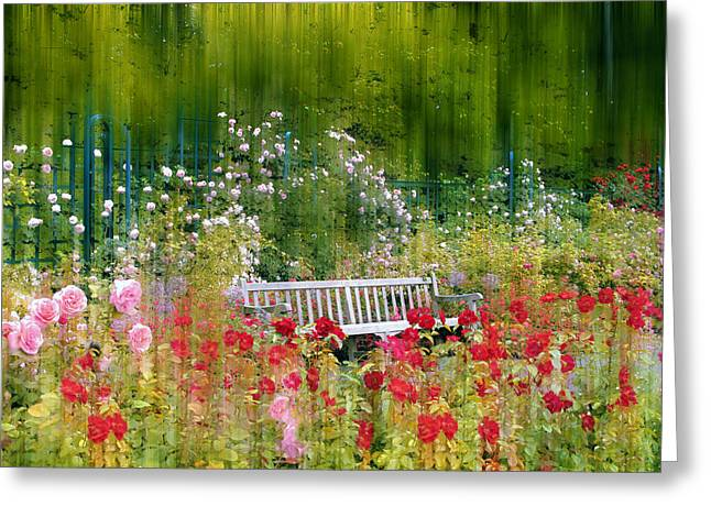Trellis Greeting Cards - Rose Garden Impressions Greeting Card by Jessica Jenney