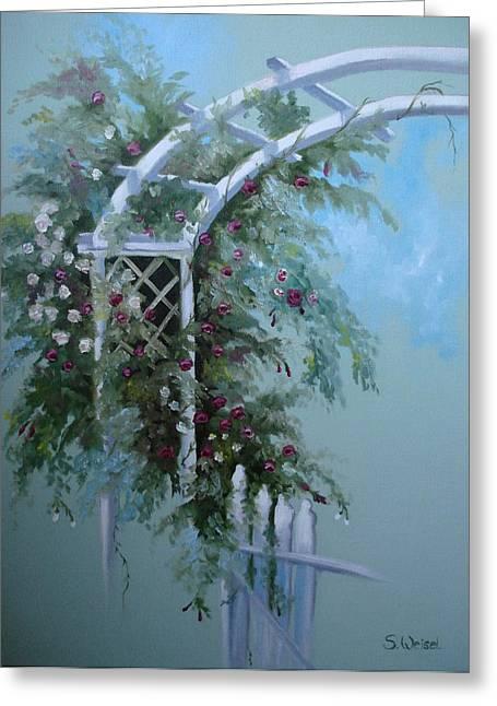 Rose Petals Greeting Cards - Rose Garden Greeting Card by Sherry Winkler
