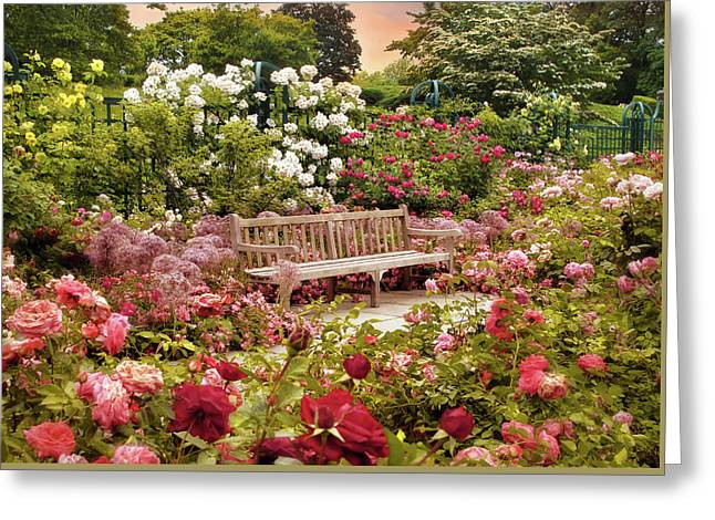 Rose Garden Sunset Greeting Card by Jessica Jenney