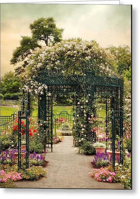 Trellis Greeting Cards - Rose Gazebo Greeting Card by Jessica Jenney