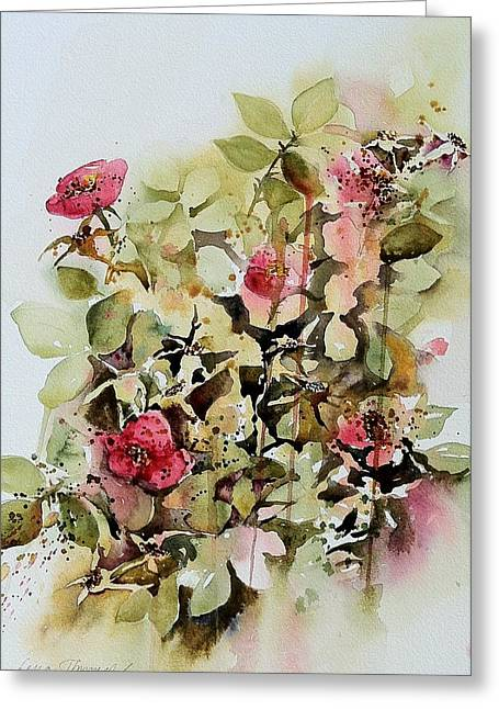 Botanicals Tapestries - Textiles Greeting Cards - Rose Hips Greeting Card by Lena Thynell