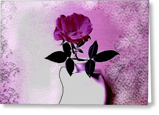 Rose In A Crooked Vase Ll Greeting Card by Marsha Heiken