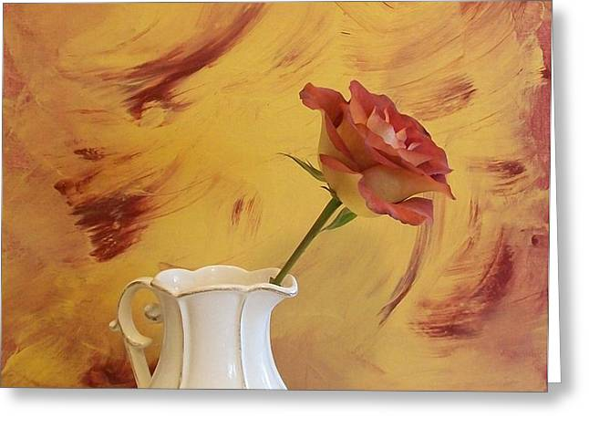 Rose In A Pitcher Greeting Card by Marsha Heiken