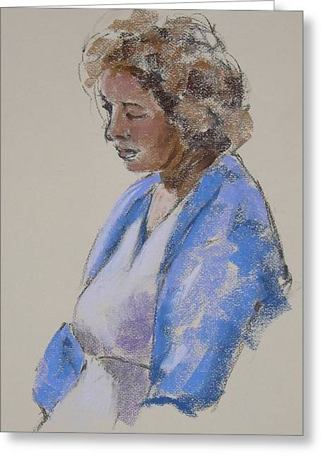 Rose In Her Blue Shawl Greeting Card by Mary McInnis