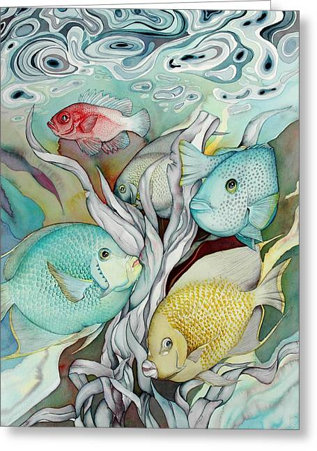Sealife Greeting Cards - Rose Island IV Greeting Card by Liduine Bekman