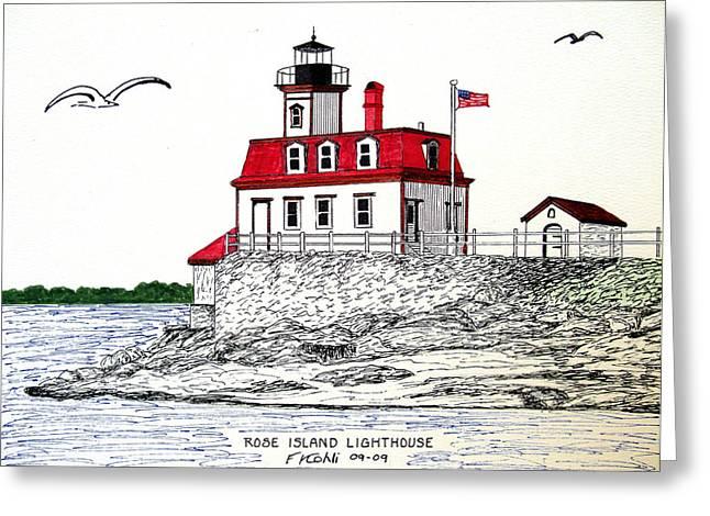 Rose Island Lighthouse Greeting Card by Frederic Kohli