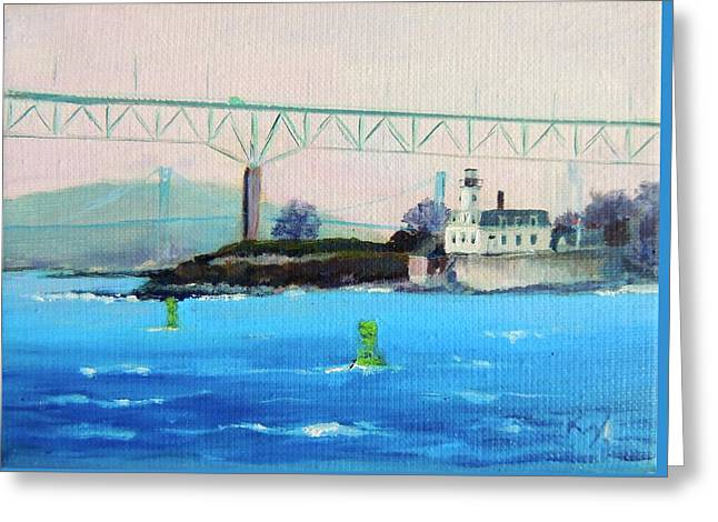 Beach Landscape Greeting Cards - Rose Island Lighthouse Newport Bridge Newport RI Greeting Card by Patty Kay Hall