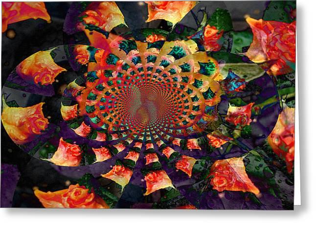 Kaleidoscope Effect Greeting Cards - Rose Kaleidoscope Greeting Card by Cathie Tyler
