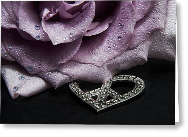 Dripping Rose Greeting Cards - Rose Love and Peace One Greeting Card by Karen Musick