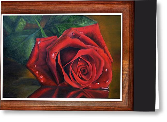 Interior Still Life Drawings Greeting Cards - Rose Love Greeting Card by Deepak Deshmukh