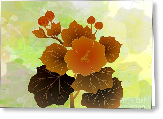 Mallow Greeting Cards - Rose Mallow Buds Greeting Card by Bedros Awak