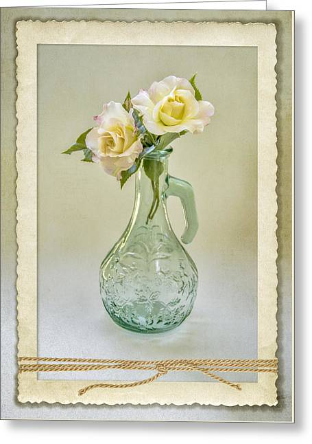 Glass Vase Greeting Cards - Rose Memories 0795 Greeting Card by Cathy Kovarik