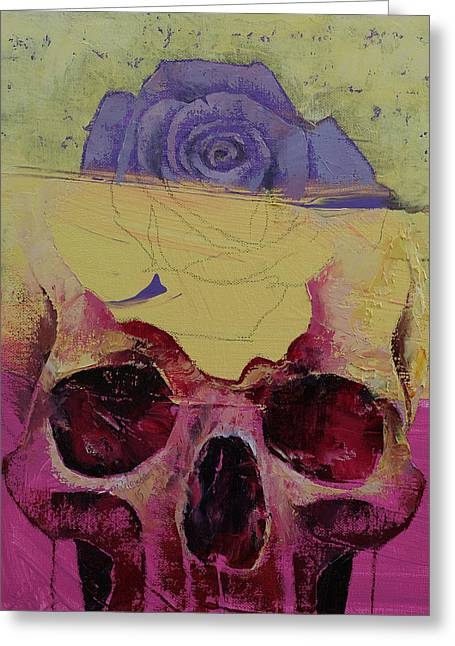 Fuschia Greeting Cards - Skull Flower Greeting Card by Michael Creese
