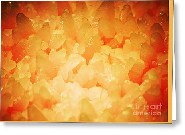 Science Greeting Cards - Rose Quartz Pink Crystals Macro Greeting Card by Shawn O