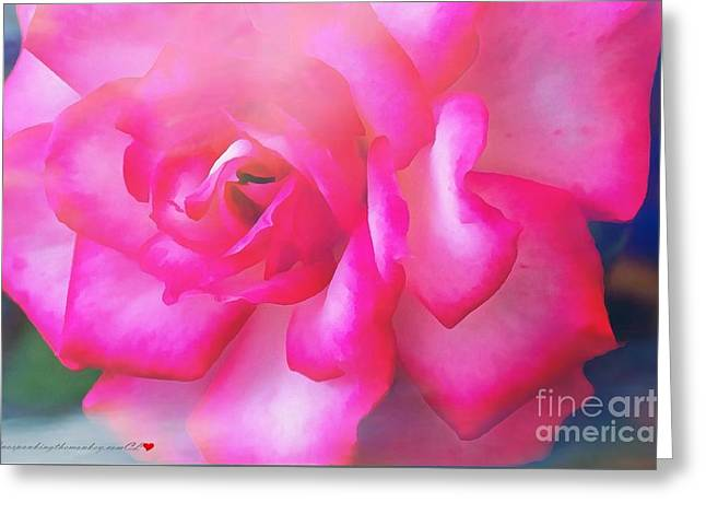 Pink Pillow With Red Roses Greeting Cards - Rose Realistic Thick Paint With Soft Overlay Greeting Card by Catherine Lott