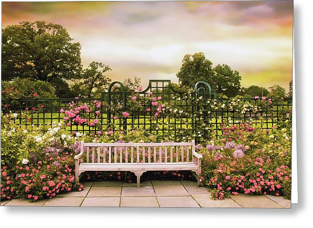 Trellis Digital Greeting Cards - Rose Respite Greeting Card by Jessica Jenney