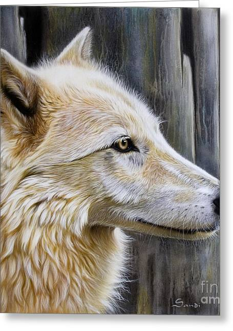 Wolf Portrait Greeting Cards - Rose Greeting Card by Sandi Baker