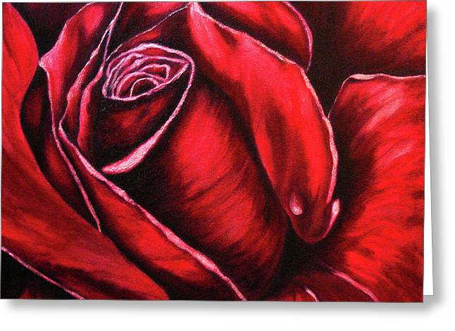 Dewdrops Paintings Greeting Cards - Rose Scarlet Greeting Card by Lyn Deutsch