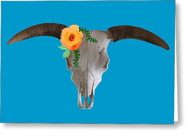 Steer Greeting Cards - Rose Skull Greeting Card by Priscilla Wolfe