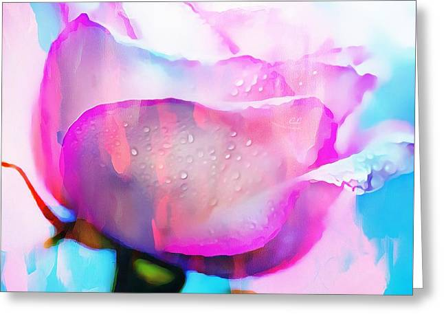 Print On Canvas Greeting Cards - Rose Soft Pink Silked In Thick Paint Greeting Card by Catherine Lott