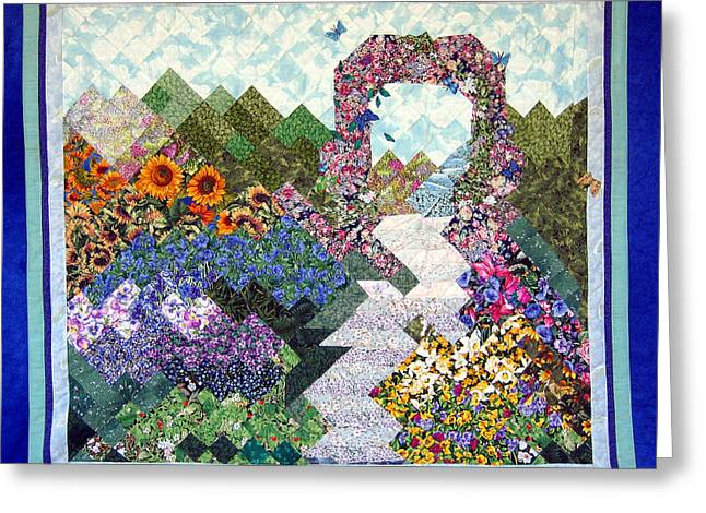 Path Tapestries - Textiles Greeting Cards - Rose Trellis Garden Greeting Card by Sarah Hornsby