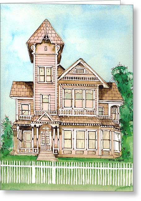Haunted House Paintings Greeting Cards - Rose Victorian Inn - Arroyo Grande CA 1886 Greeting Card by Arline Wagner