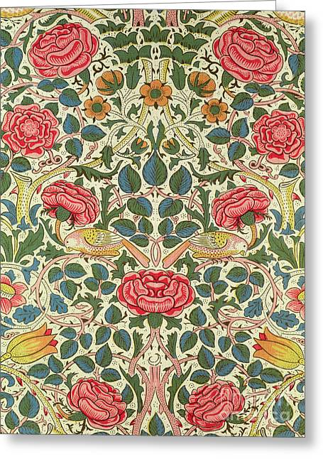 Tapestries Textiles Greeting Cards - Rose Greeting Card by William Morris