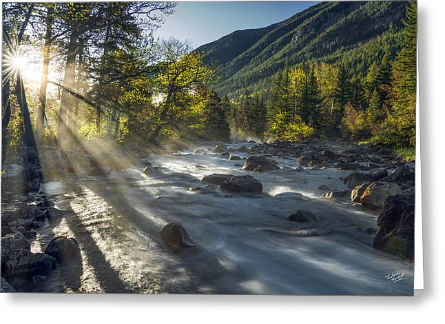 Rosebud Creek Sunrise Greeting Card by Leland D Howard
