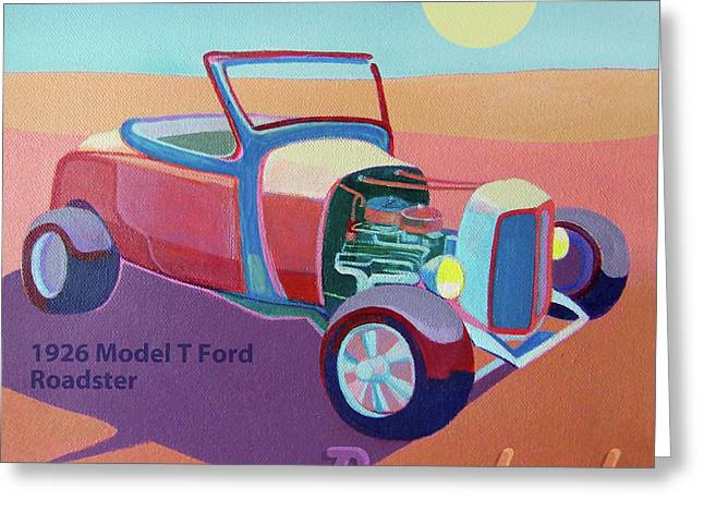 Ford Hotrod Greeting Cards - Rosebud Model T Roadster Greeting Card by Evie Cook