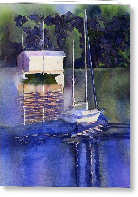 Blue Sailboat Mixed Media Greeting Cards - Rosegill Reflections Greeting Card by Elise Ritter