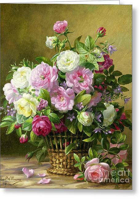 In Bloom Paintings Greeting Cards - Roses  Greeting Card by Albert Williams