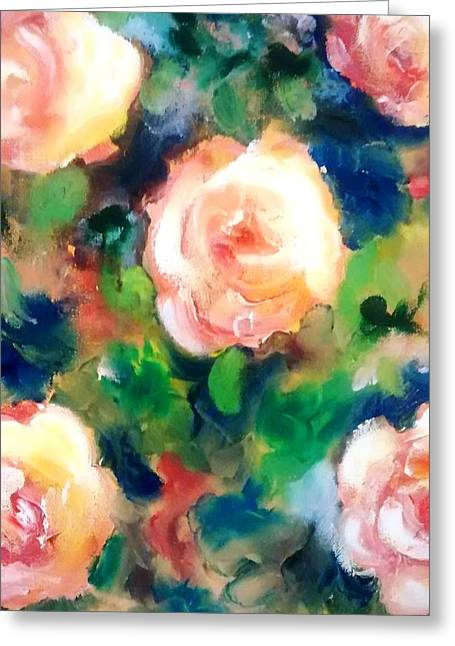 Roses And Blueberries Greeting Card by Patricia Taylor