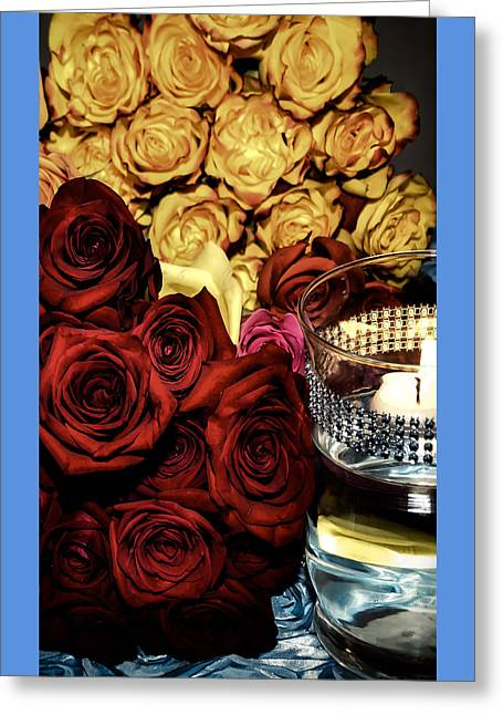 Candle Lit Greeting Cards - Roses and candle Greeting Card by Malisa Brannon