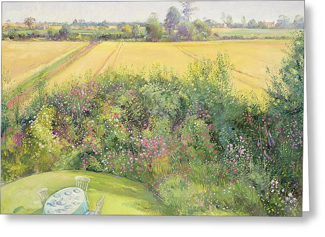Rose Bushes Greeting Cards - Roses and Cornfield Greeting Card by Timothy Easton