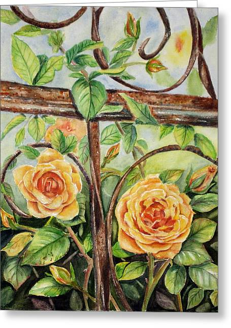Trellis Paintings Greeting Cards - Roses At Garden Fence Greeting Card by Patricia Pushaw